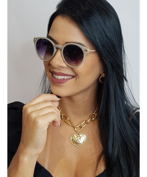 Óculos de Sol Marcapasso - Redondo com Acetato Cinza