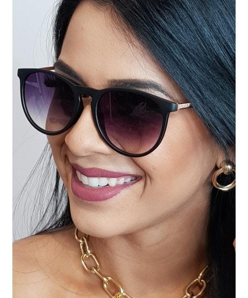 Óculos de Sol Marcapasso - Redondo com a armação superior mais reta - Preto