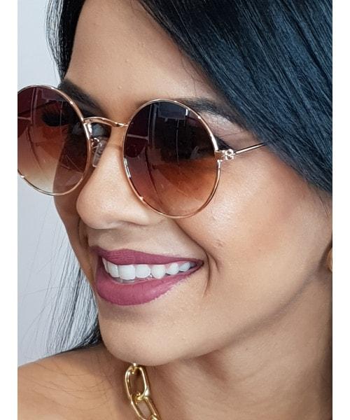 Óculos de Sol Marcapasso - Redondo Marrom com as lentes em degradê