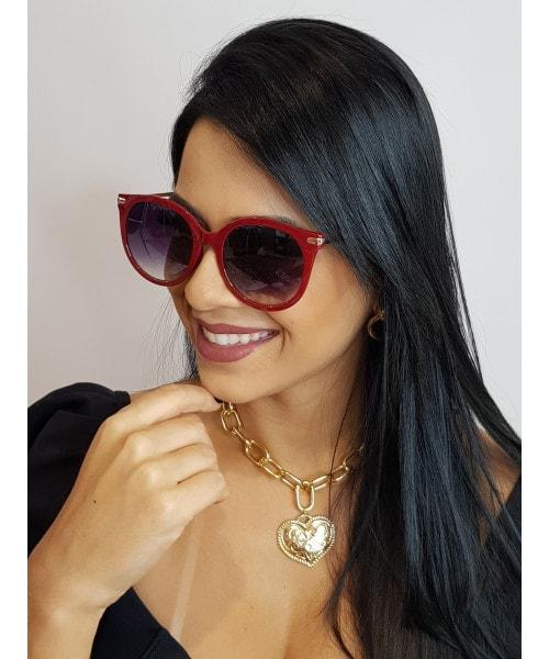 Óculos de Sol Marcapasso - Redondo Oversized Vermelho
