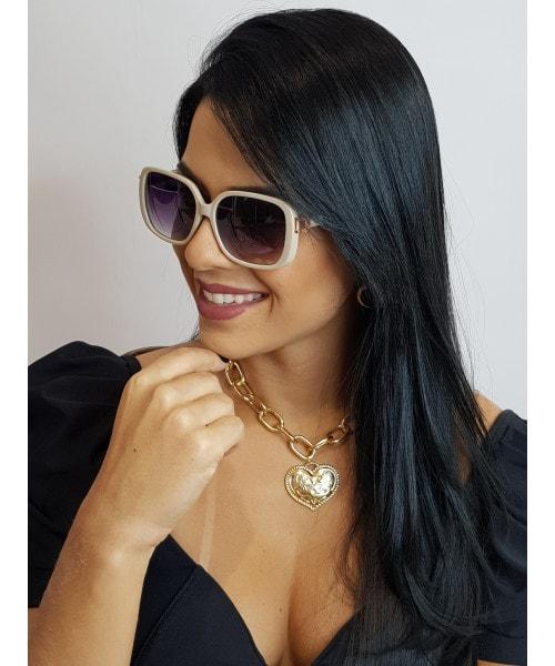 Óculos de Sol Marcapasso - Quadrado Oversized com Acetato na cor Gelo
