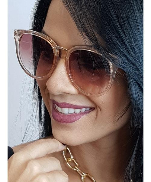 Óculos de Sol Marcapasso - Redondo com Armação Transparente com Lentes Marrom