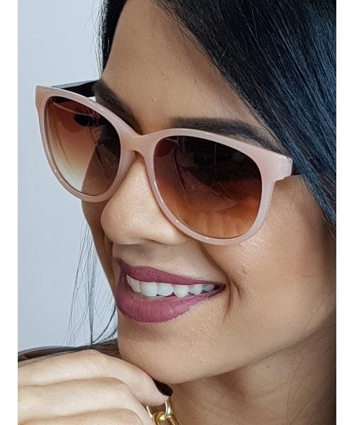Óculos de Sol Marcapasso - Redondo em Acetato Rosa e Lentes Marrom