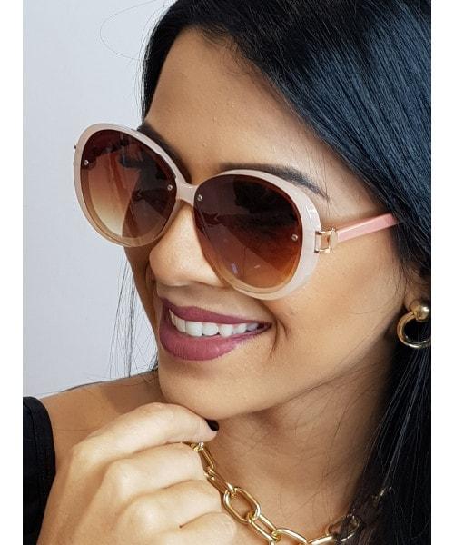 Óculos de Sol Marcapasso - Redondo Oversized com Detalhes na Armação em Acetato e Metal