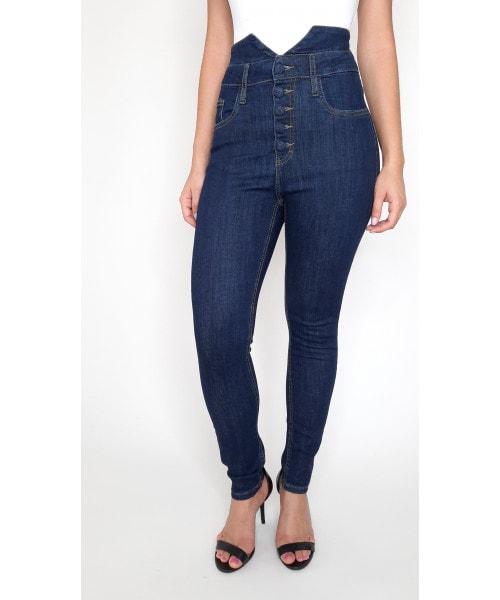 Calça Código Teen Jeans Cintura Alta com Botões - Skinny Escura