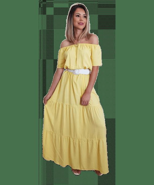 Vestido Fina Flor Longo - Amarelo