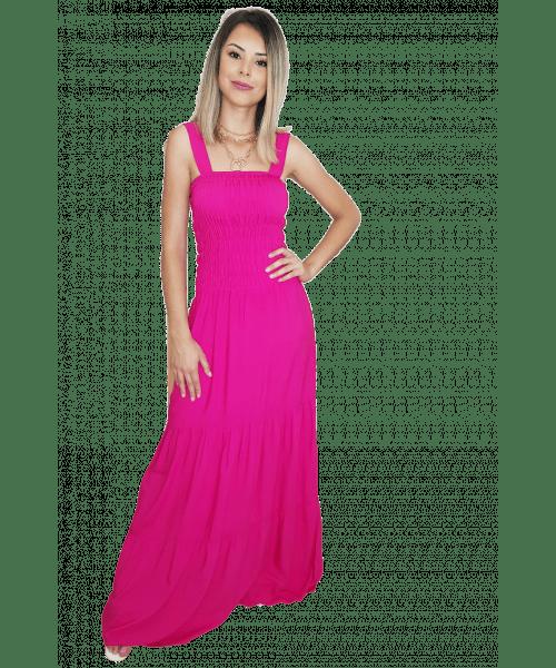 Vestido Fina Flor Longo de alça - Pink