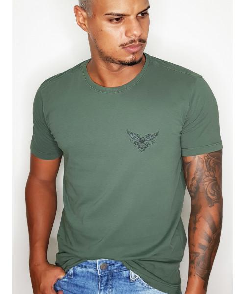 Camiseta ELLUS com Detalhe - Verde Militar