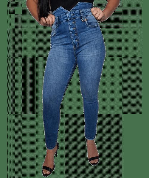 Calça Código Teen Jeans Cintura Alta com Botões - Skinny Jeans