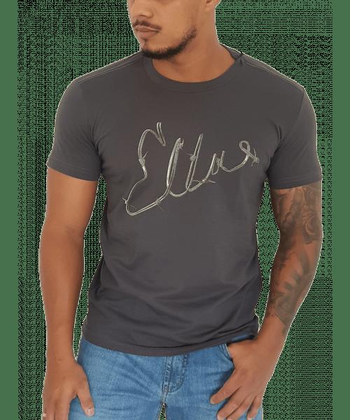 Camiseta Ellus Classic Cotton Fine Wire -  Cinza Escuro