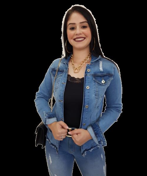Jaqueta Código Teen Jeans Claro com detalhes em rasgos