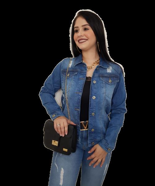 jaqueta Código Teen Jeans Escuros com detalhe em rasgos