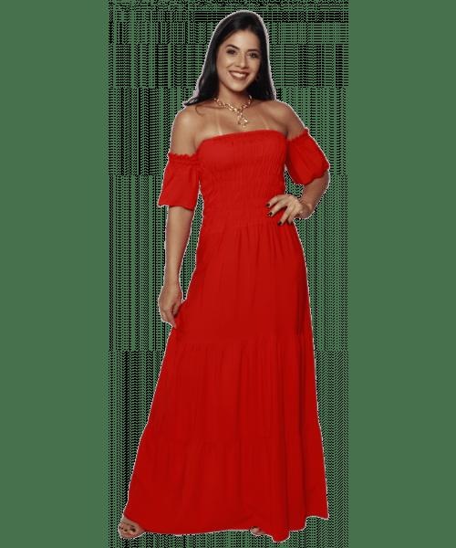 Vestido Longo Fina Flor com Elastex e manga ciganinha - Vermelho