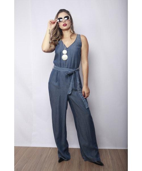 Macacão Código Teen Jeans em Tencel modelo Regata
