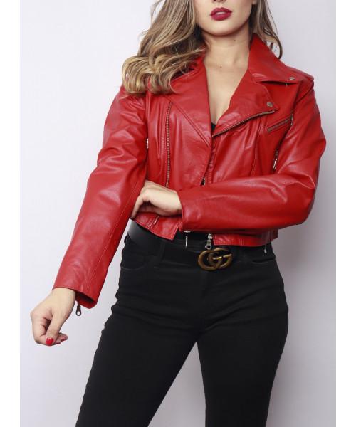 Jaqueta em Couro Legítimo - Vermelho