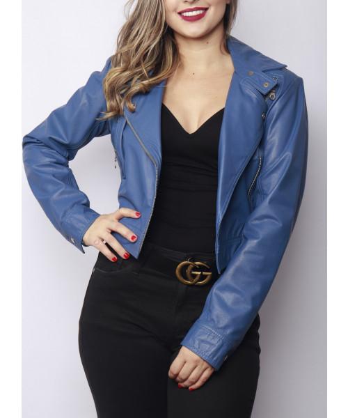 Jaqueta em Couro Legítimo - Azul
