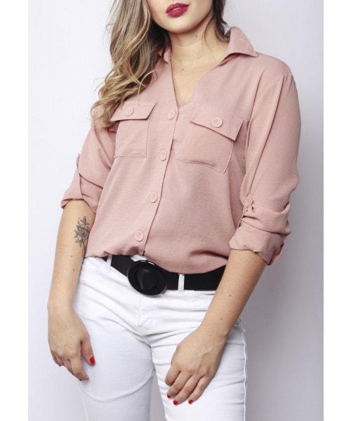 Camisa Fina Flor com bolsinho