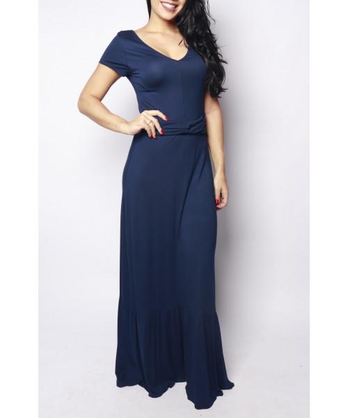 Vestido Longo Viscolycra - Azul