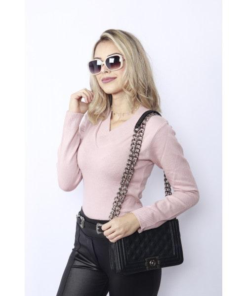 Tricot Lisa decote V-Rosa