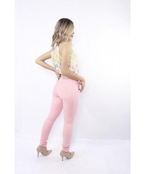 Calça Color Código Teen Skinny Rosa Florescente