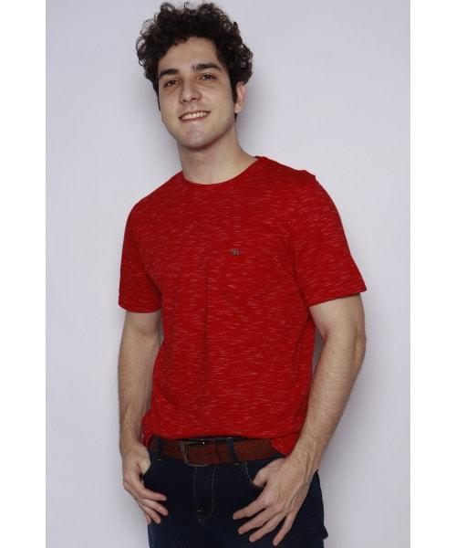Camiseta em Estampa Mesclado e Bolsinho - Vermelho