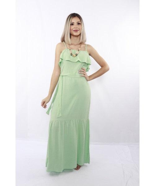 Vestido Fidelidah de alça com Babado - Verde
