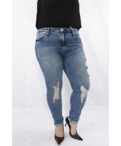 Calça Código Teen Jeans com detalhe nas pernas em rasgos e barra dobrada