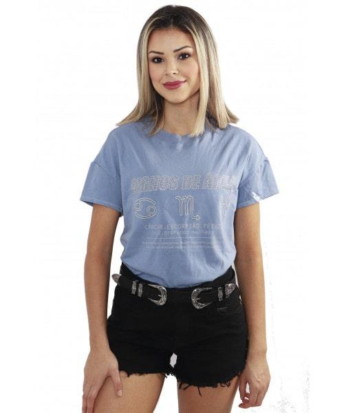 T-shirt Dzarm Signos de Água - Azul