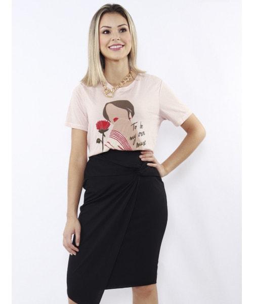 T-shirt Dzarm com estampa - Cor Nude Rose