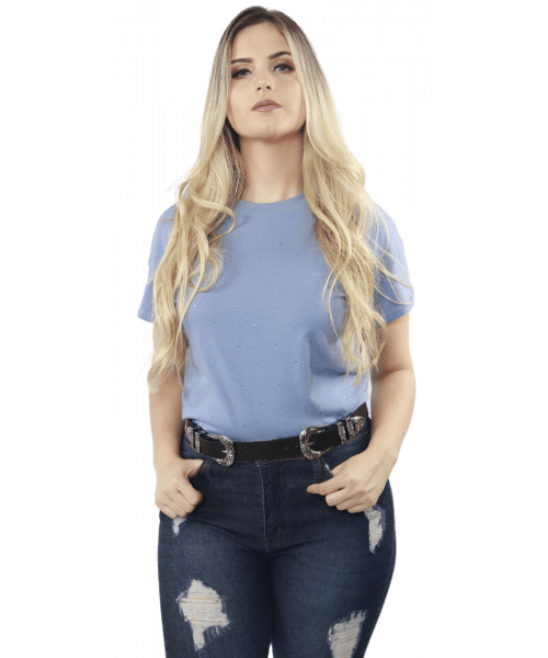 T-shirt Dzarm com aplicações - Azul Grisaceo