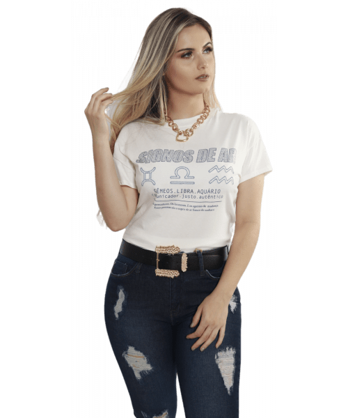 T-shirt Dzarm Signos de Ar - Branco