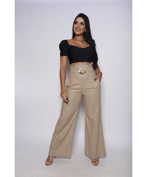 Calça Pantalona E. Doce Cintura Alta - Bege