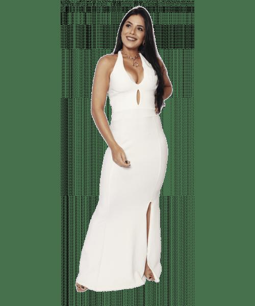 Vestido Fidelidáh Longo Frente Única - Off White