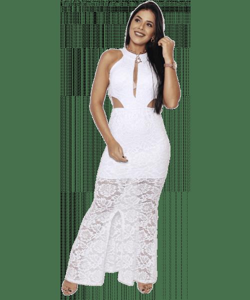 Vestido Longo Rendado Emporium - Branco