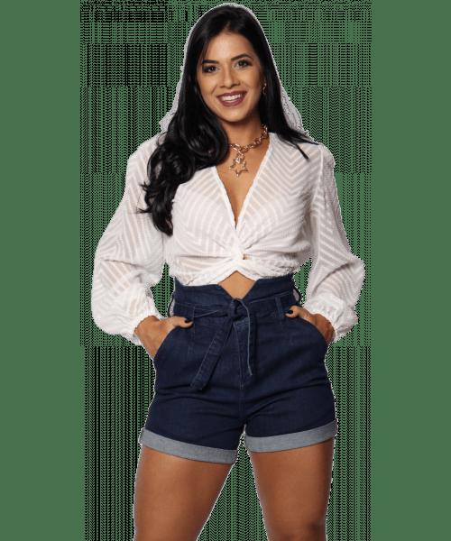 Shorts Código Teen Jeans Cintura alta - Jeans Escuro