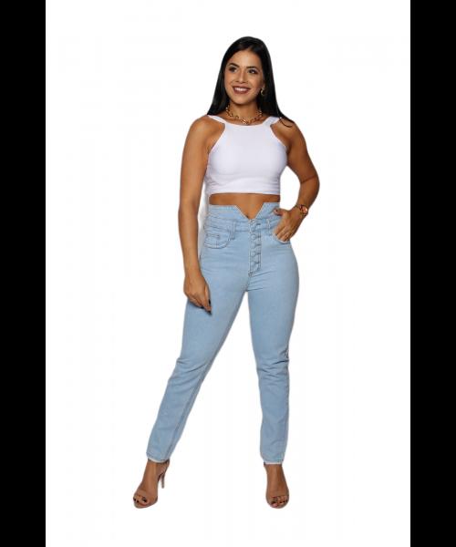 Calça Código Teen Jeans Cintura Alta com Botões - Skinny Claro