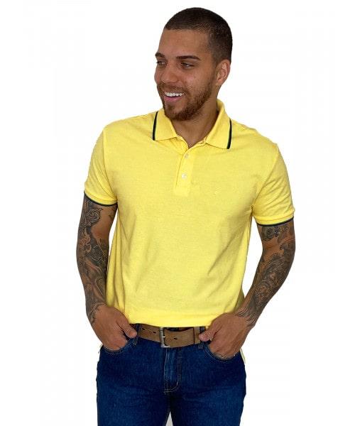 Polo Ellus Easa Classic - Amarela com Frisos Coloridos