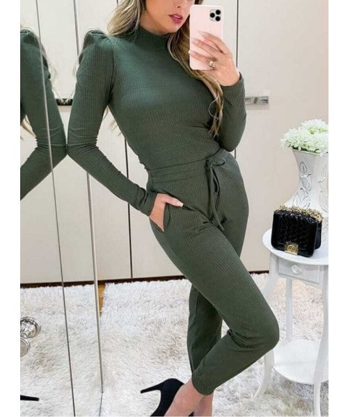 Conjunto Manga Bufante - Verde Militar